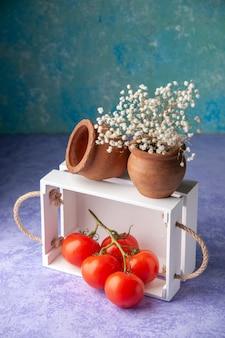 Scatola di legno bianca di vista frontale sull'affare di colore di legno dell'alimento dell'insalata matura di superficie blu-chiaro
