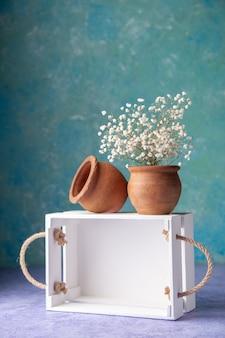 Vista frontale scatola di legno bianca sulla superficie blu chiaro insalata matura cibo legno scrivania colore affare