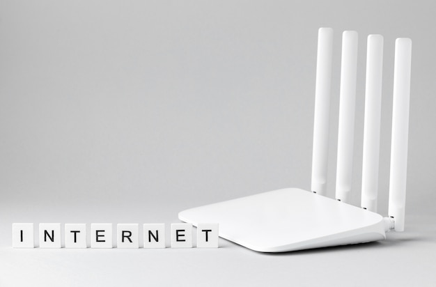 Front view of wi-fi router with copy space