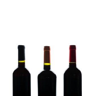 Front view wine bottles silhouette