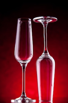 Front view wine glasses one is upside down