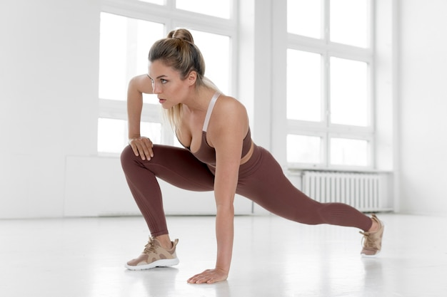 Front view of woman doing exercises