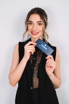 Front view woman holding business card with cyber monday