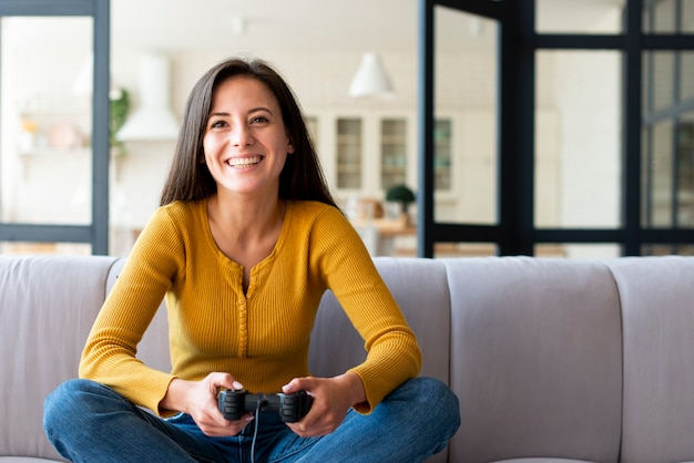 Front view of woman playing games