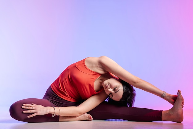 Front view woman stretching