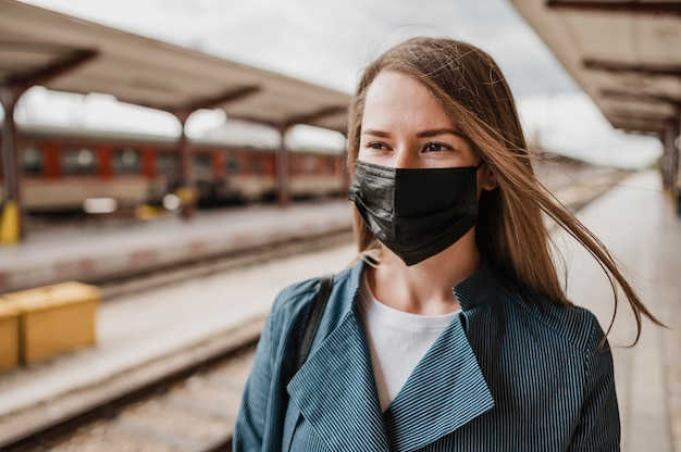 Front view woman wearing fabric protection mask