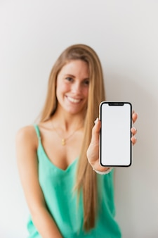 Front view women holding phone