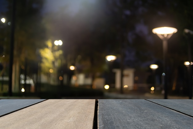 Front view of wooden table blurred background, copy space, product, template