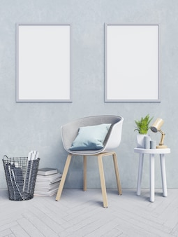 Front view of an working interior with blue wall empty room,mockup poster on light blue wa