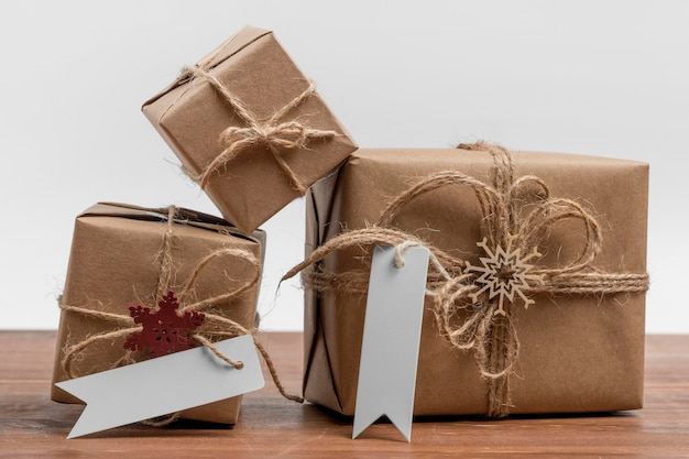 Front view of wrapped christmas presents