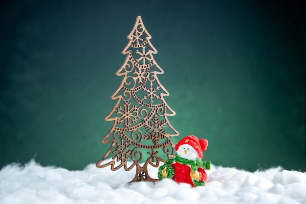 Front view xmas tree decoration small snowman