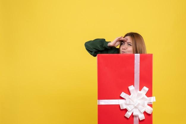 プレゼントボックス内の正面図若い女性 無料写真