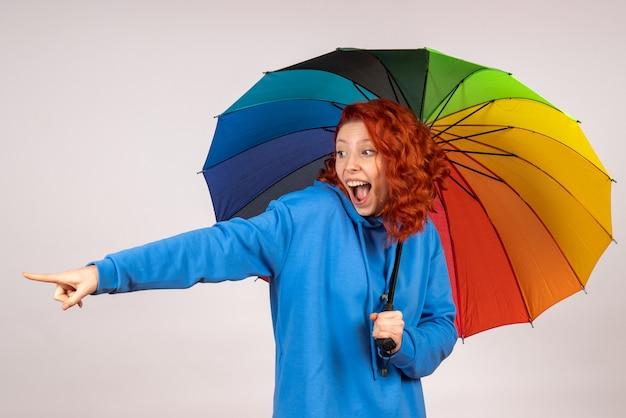 Vista frontale della giovane donna con ombrello colorato sul muro bianco