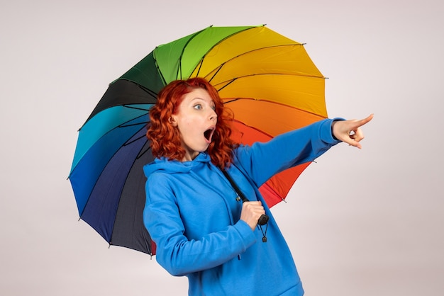 Front view of young female with colorful umbrella on the white wall