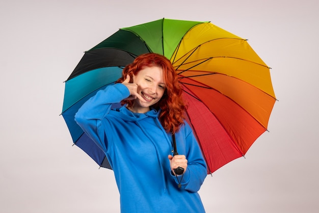 Front view of young female with colorful umbrella on white wall