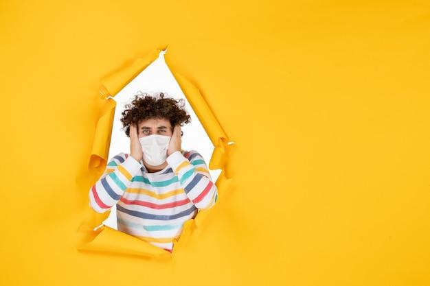 노란색 건강 색상 covid 코로나 바이러스 인간 사진 전염병에 멸균 마스크에 전면보기 젊은 남성