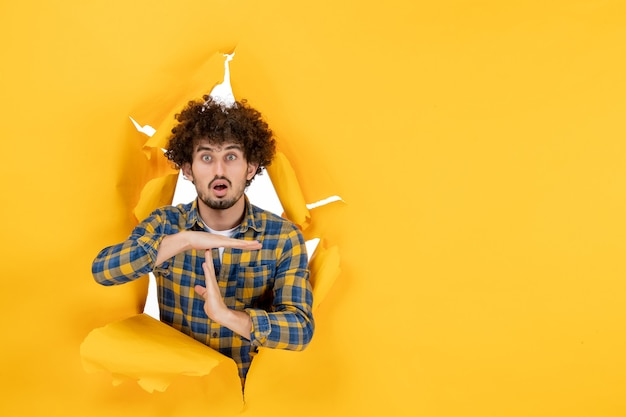Вид спереди молодой самец, показывающий букву t на желтом разорванном фоне