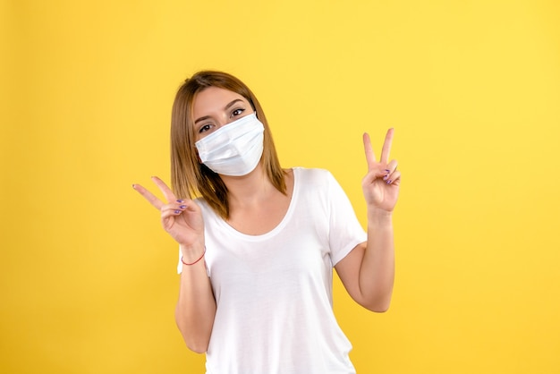 Front view of of young woman in mask on a yellow wall