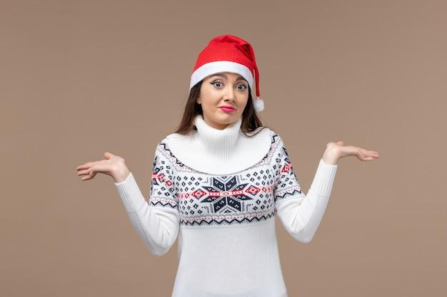 갈색 배경 새 해 감정 크리스마스에 전면보기 젊은 여자