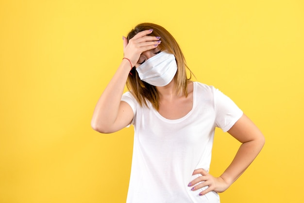 Front view of young woman stressed in mask on yellow wall