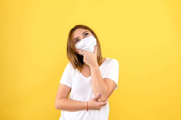 Front view of young woman thinking in mask on yellow wall