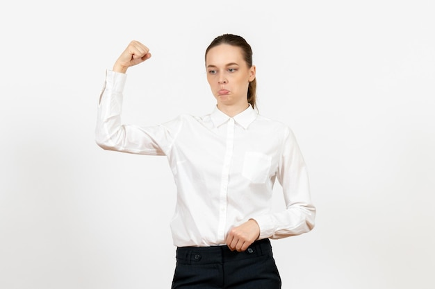 Front view young woman in white blouse with sad face on white background job office female feeling model emotion