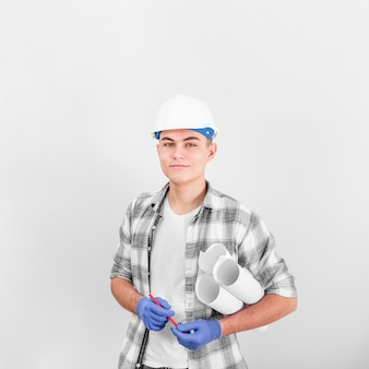 Front view of young working man smiling