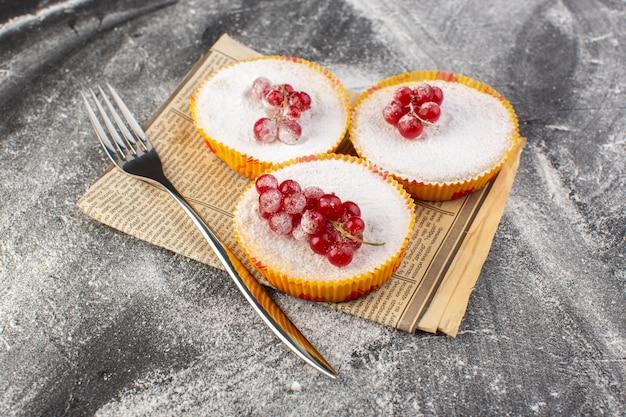 Вид спереди вкусные клюквенные пирожные с красной клюквой на кусочках сахара и пудрой с вилкой серый настольный торт бисквитная сладкая выпечка
