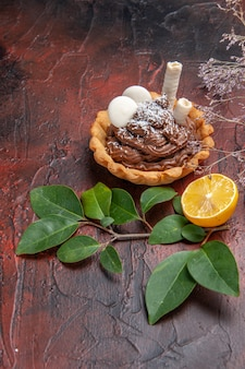 Torta cremosa gustosa vista frontale sulla torta di biscotto dolce dessert tavolo scuro