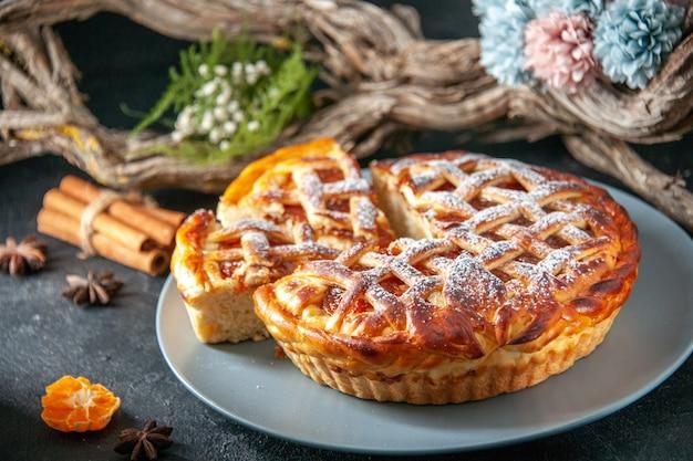 Front view yummy jelly pie on dark background biscuit pie oven dessert bake sweet dough sugar cake