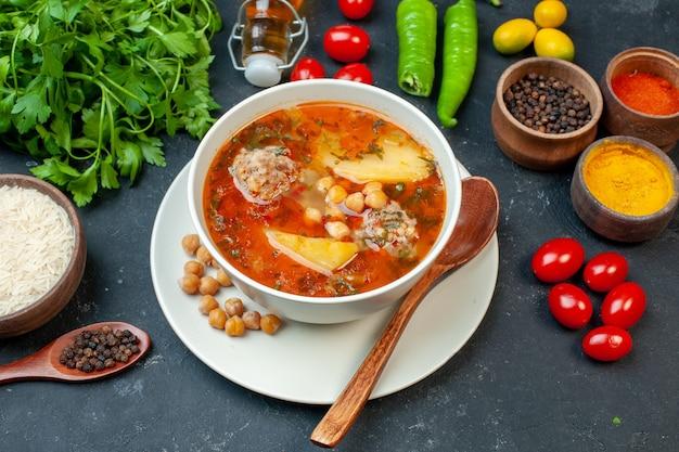 어두운 테이블에 채소와 조미료와 함께 전면보기 맛있는 고기 수프