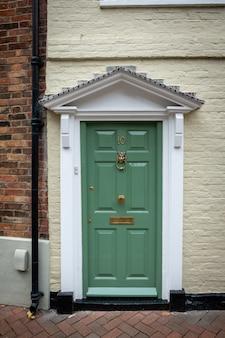 Frontdoor of english mansion in london great brittain