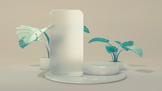 Рамка из матового стекла приложения шаблона телефона на подиуме. 3d иллюстрации. передний план. сцена из мраморного цилиндра с листьями монстеры, изолированными на фоне.