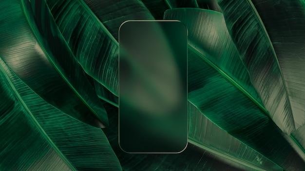 Рамка из матового стекла шаблона телефона с пустым экраном. 3d иллюстрации. макет вид спереди. абстрактная минимальная сцена для презентации приложений на фоне падающих листьев.