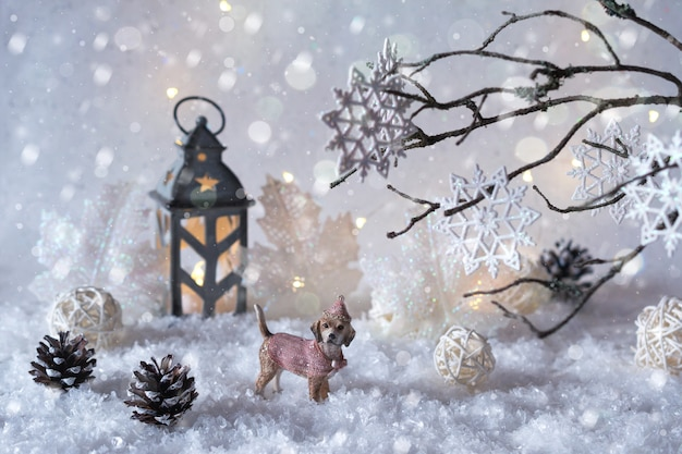Frosty winter wonderland with snowfall and magic lights