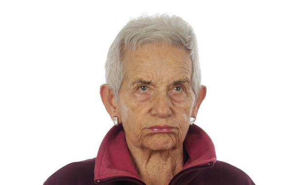 Frowming senior woman