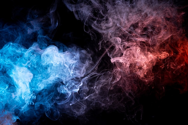 Frozen abstract movement of explosion smoke multiple blue