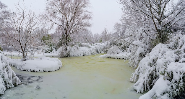 마드리드의 한 공원에 얼어 붙은 눈 덮인 호수. 스페인