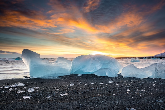 Frozen beach in iceland
