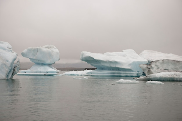 Frozen blue icebergs in a glacial lake