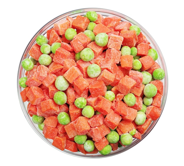 Frozen carrots and green peas in a glass bowl isolated on white. top view