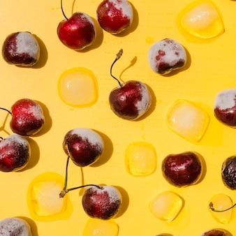 Frozen cherries and ice cubes