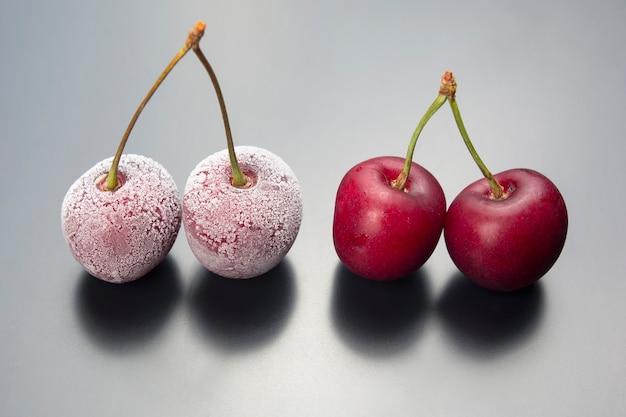 Замороженная ягода вишни. фрукты и витамины. здоровое питание на завтрак. плоды растительности. фруктовый десерт