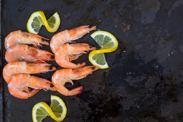 Frozen cooked shrimps with lemon