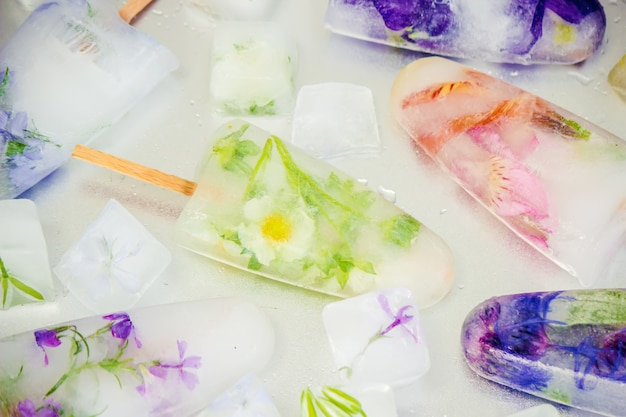 Frozen flowers in ice cubes and ice cream on a stick. selective focus.