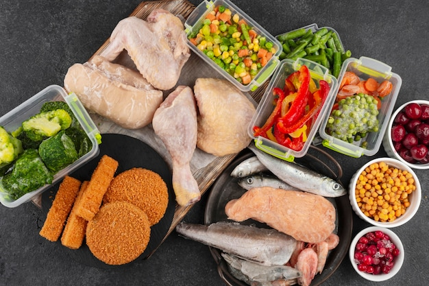 Frozen food on the table assortment