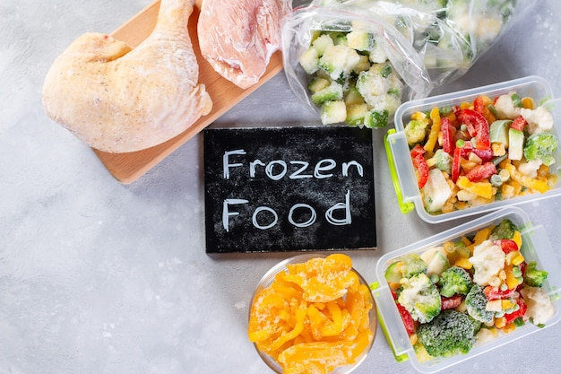Frozen food, vegetables and meat