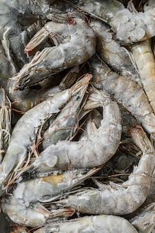 Frozen fresh big shrimps, prawns prepared for seafood cooking. white background. .