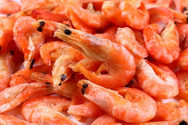 Frozen fresh shrimp. snack to beer. close up