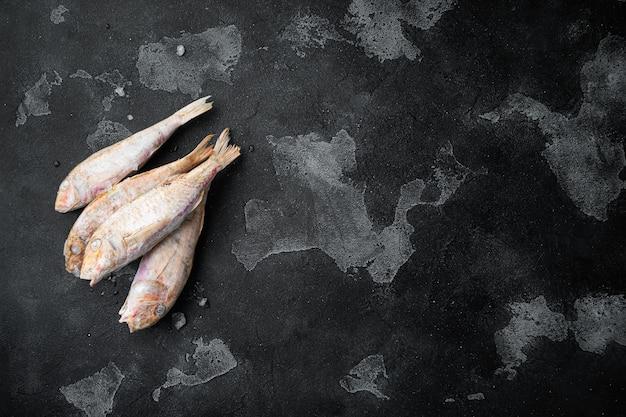 검은색 짙은 석재 테이블 배경에 있는 냉동 염소고기 생선 세트, 텍스트 복사 공간이 있는 평면도